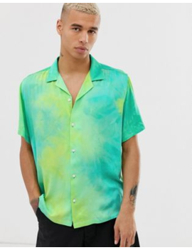 Asos Design Extreme Oversized Tie Dye Viscose Shirt In Green by Asos Design