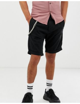 Bershka Slim Cargo Shorts In Black by Bershka