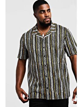 Big & Tall Revere Collared Stripe Shirt by Boohoo
