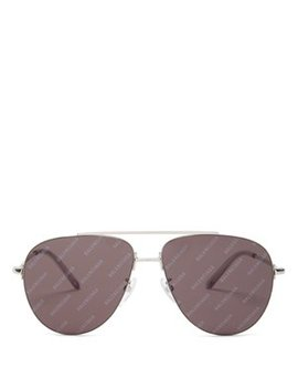 Invisible Logo Aviator Metal Sunglasses by Balenciaga