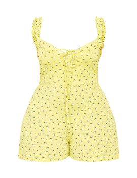 Plus Yellow Ditsy Floral Playsuit by Prettylittlething