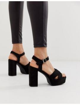 Glamorous Exclusive Black Platform Heeled Sandals by Glamorous