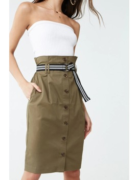 Belted Paperbag Skirt by Forever 21