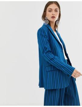 asos-white-tonal-stripe-blazer by asos-white