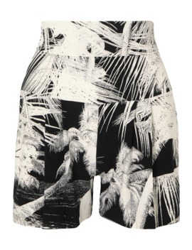 Pleated Printed Stretch Jersey Shorts by Norma Kamali