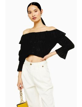 Petite Broderie Bardot Top by Topshop