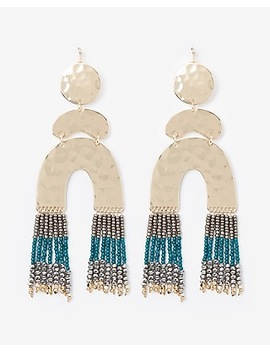 Tiered Seed Bead Fringe Drop Earrings by Express