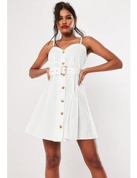 white-cami-button-through-mini-dress by missguided
