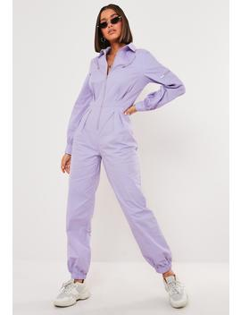 Lilac Zip Detail Long Sleeve Boiler Jumpsuit by Missguided