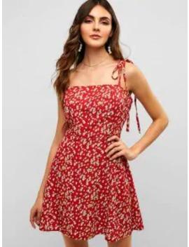 Hot Salezaful Floral Tie Strap Apron Mini Sundress   Lava Red S by Zaful