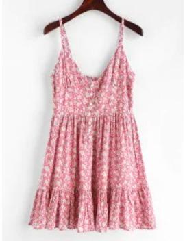 Hot Salezaful Ruffles Half Buttoned Floral Dress   Flamingo Pink S by Zaful
