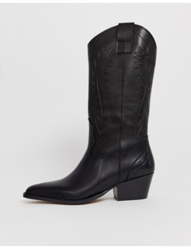 Depp Tall Leather Western Boot In Black by Shoes