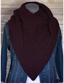 Bordeaux Madison Crochet Scarf, Knit Scarf, Crochet Winter Scarf, Triangle Scarf Woman, Wrap, Scarf, Crochet Shawl, Boho, Shawl, Gift by Etsy