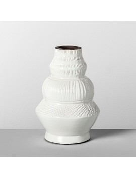 """9"""" X 6.2"""" Etched Terra Cotta Vase White   Opalhouse by Opalhouse"""