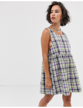 Collusion Check Drop Armhole Smock Mini Dress by Collusion
