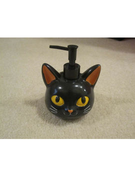 Hand Soap Dispenser Black Cat Face Head Bathroom Kitchen Halloween Fall New Tag by Ebay Seller