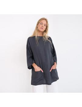 Alexis Oversized Linen Tunic Top / Elegant Linen Tunic With Front Pockets / Plus Size Tunic by Etsy