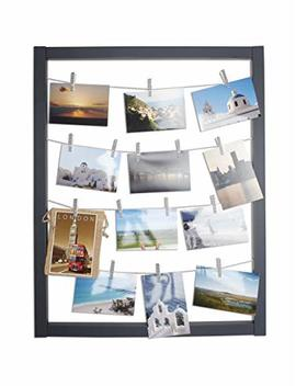 Reimagine Hanging Photo Display  Wood Wall Picture Frame Collage Board For Hanging Prints, Instax, Holiday Cards, Artwork  Display 2 Ways  Adjustable String, Chevron Clothespin Clips  Gunmetal Grey by Zen Decor