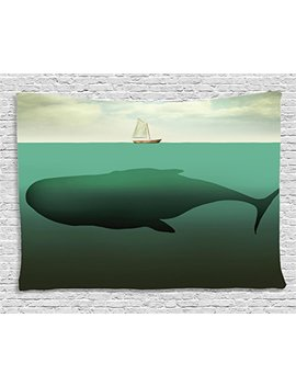 Ambesonne Fantasy Tapestry, Surreal Giant Whale In The Middle Of Sea And Little Sailboat On The Surface Print, Wall Hanging For Bedroom Living Room Dorm, 80 W X 60 L Inches, Green Beige by Ambesonne