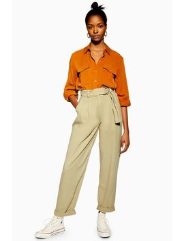 Belted Menswear Style Trousers by Topshop