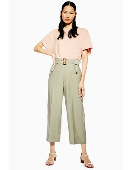 Cupro Belt Crop Wide Leg Trousers by Topshop