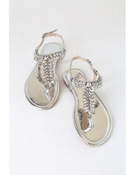 Wilkins Silver Rhinestone T Strap Sandals by Lulu's