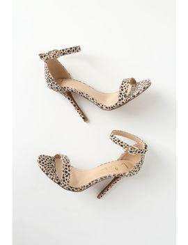 Elsi Baby Cheetah Suede Single Strap Heels by Lulus