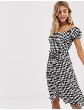 Brave Soul Italia Bardot Midi Dress In Gingham by Dress