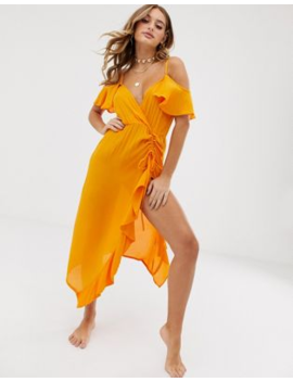 Asos Design Beach Maxi Dress With Cold Shoulders &Amp; Ruched Waist Detail In Crinkle by Asos Design