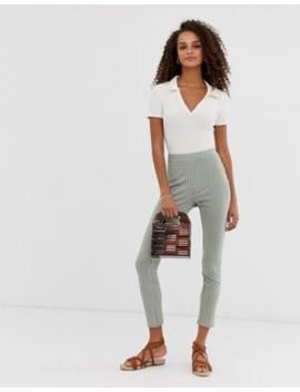 Asos Design Gingham Jacquard Skinny Trouser by Asos Design