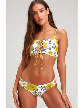 Pompeii Yellow Floral Print Cheeky Bikini Bottoms by Lulus