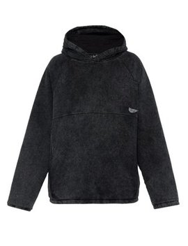 Acid Wash Cotton Hooded Sweatshirt by Martine Rose
