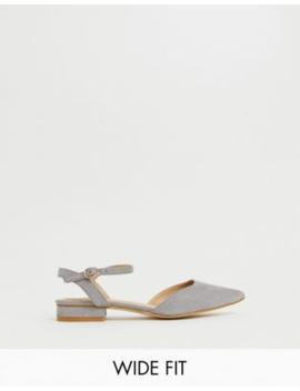 Raid Wide Fit Myla Grey Ankle Strap Flat Shoes by Raid
