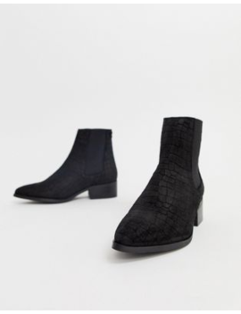 Vero Moda Snake Embossed Real Suede Boots by Vero Moda