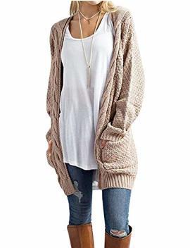 Traleubie Women's Open Front Long Sleeve Boho Boyfriend Knit Chunky Cardigan Sweater by Traleubie