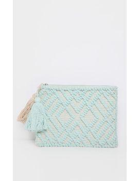 Mint Cotton Tassel Detail Clutch Bag by Prettylittlething