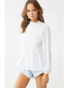 Mock Neck Smocked Top by Forever 21