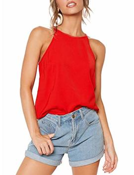 Thanth Womens Halter Tops Sleeveless Summer Strap Tank Tops High Neck Casual Cami Tops Tee by Thanth