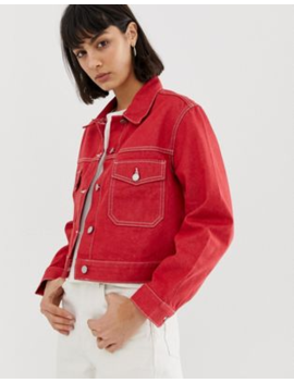 Weekday   Recycled Edition   Giacca Di Jeans Rossa by Weekday