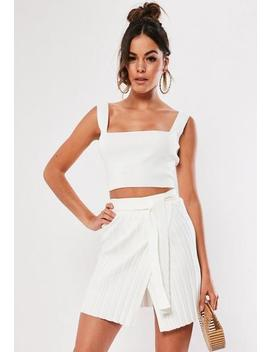 white-knitted-co-ord-rib-tie-waist-mini-skirt by missguided