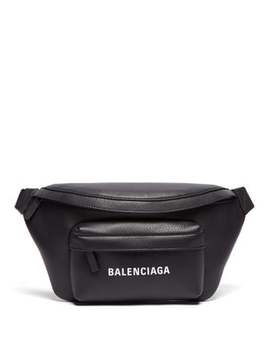 Logo Print Leather Belt Bag by Balenciaga