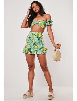 Co Ord Lemon Printed Frill Mini Skirt by Missguided
