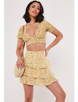 Yellow Floral Co Ord Ditsy Shirred Sleeve Crop Top by Missguided