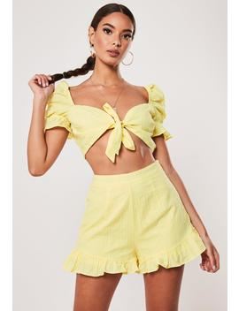 Yellow Co Ord Frill Shorts by Missguided