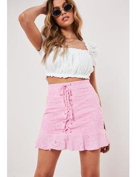 Pink Broderie Anglais Lace Up Skirt by Missguided