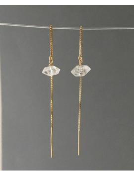Herkimer Diamond Box Chain Threader Earrings In Gold Or Silver by Etsy