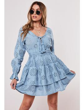 Blue Broderie Anglais Frill Skater Dress by Missguided