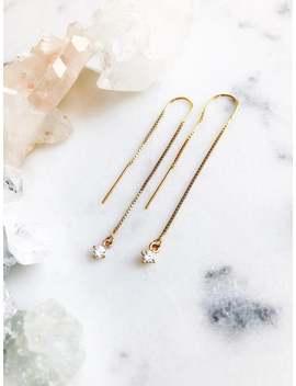 Kehaulani Threader Earrings   Gold Ear Thread Earrings, Ear Threader Earring, Gold Cz Earrings, Gold Earring, Diamond, Gold Dangle Earring by Etsy