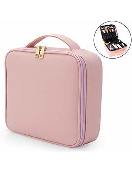 Monstina Makeup Travel Case,Portable Makeup Train Case Cosmetic Bag With Women,Makeup Organizers And Storage For Cosmetics Jewelry Makeup Brushes With Adjustable Dividers by Monstina