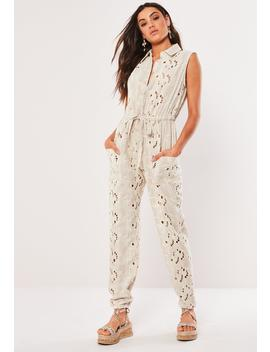 Cream Broderie Sleeveless Button Front Jumpsuit by Missguided